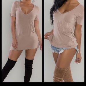 Tops - Mauve Round Neck pocket T shirt